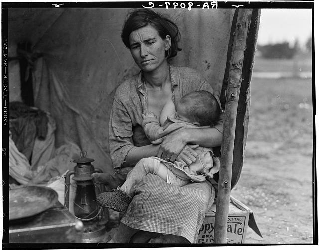 Migrant agricultural worker's family. Seven hungry children. Mother aged thirty-two. Father is native Californian. Nipomo, California. 1936 © Dorothea Lange